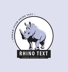 designer logo with rhinoceros on a blue background vector image vector image