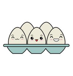 Eggs carton kawaii character vector