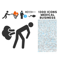 Fart gases icon with 1300 medical business icons vector