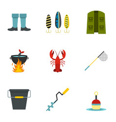 Fishing elements icons set flat style vector