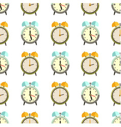 Flat clocks seamless pattern design - alarm vector