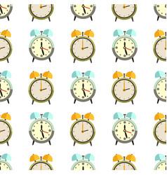 flat clocks seamless pattern design - alarm vector image vector image