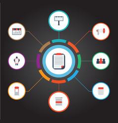 Flat icons monitoring customer summary vector