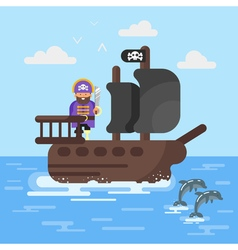 Flat style of pirate ship with dolphins vector