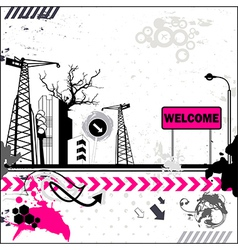 Grunge welcome card vector