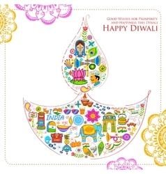 Happy Diwali background with India related things vector image vector image