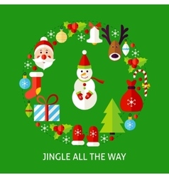 Jingle all the way postcard vector
