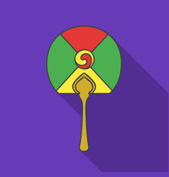 Korean hand fan icon in flate style isolated on vector