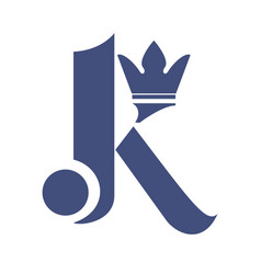 letter k with crown logo design vector image vector image