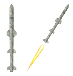 Military two-stage rockets on a white background vector image vector image