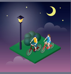 Moonligt night in park female and male cyclists vector