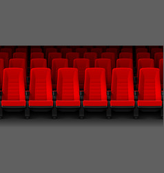 movie theater with rows of red empty chairs vector image vector image