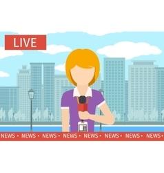 News reporter woman vector