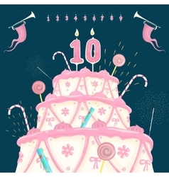 Number Candle and Cake vector image vector image