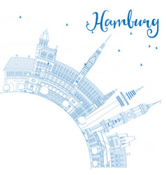 Outline hamburg skyline with blue buildings vector