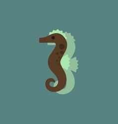 Sea horse in sticker style vector