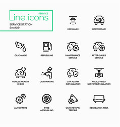 service station - modern single line icons vector image vector image