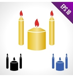 Set color icon candles vector image vector image