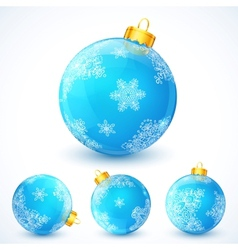 Set of blue christmas balls vector