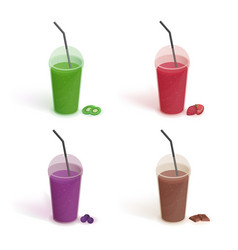 set of different drinks in plastic cup with lid vector image