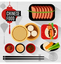 Set of flat elements for chinese restaurant vector