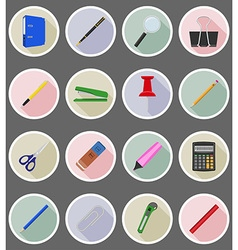 stationery flat icons 20 vector image