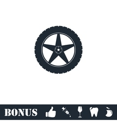 Tire icon flat vector
