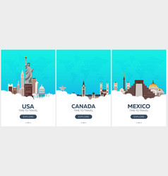 Usa canada mexico time to travel set of travel vector