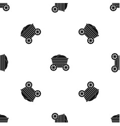 vintage wooden cart pattern seamless black vector image vector image
