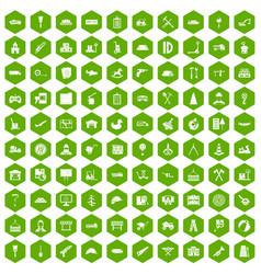 100 lorry icons hexagon green vector