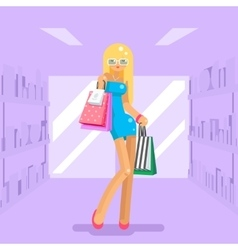 Girl shopping bag package purchase flat design vector image