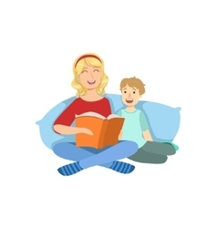 Mother and child reading a book together vector