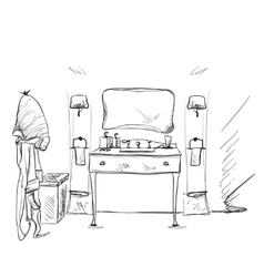 Hand drawn bathroom furniture and bathrobe vector