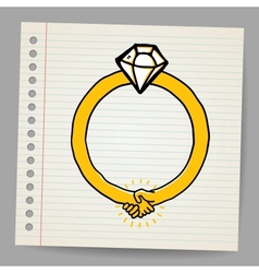 Sketchy diamond ring vector