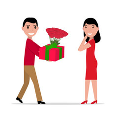 Cartoon man gives gift and flowers to woman vector