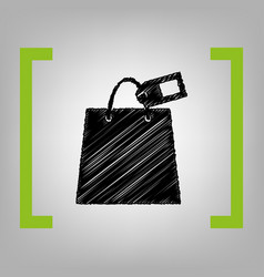 shopping bag sign with tag black scribble vector image