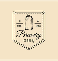 kraft beer can logo old brewery icon lager retro vector image