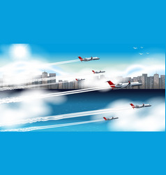 many airplanes flying in sky vector image