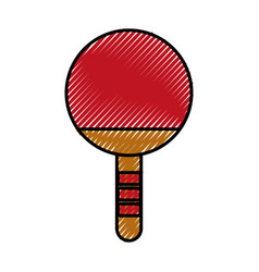 Scribble ping pong racket vector
