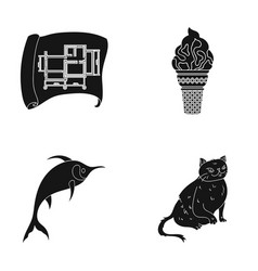Cat animal fur and other web icon in black style vector