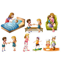 Children and mother doing different activities vector