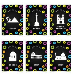 Poster with famous historic monuments paradise vector