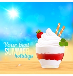 Soft creamy ice-cream dessert on sunny beach vector