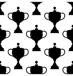 Vintage trophy cups seamless pattern vector