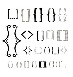 23 different hand drawn brackets bracket icons vector
