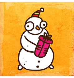 Snowman with present cartoon vector