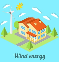 Low-energy house with wind turbine for web design vector