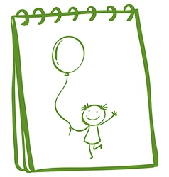 A notebook with a sketch of a young girl with a vector image