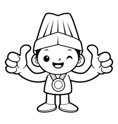 Black and white head cook mascot receive a gold vector