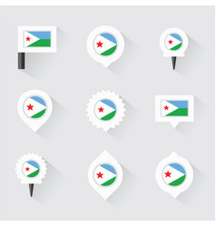 Djibouti flag and pins for infographic and map vector